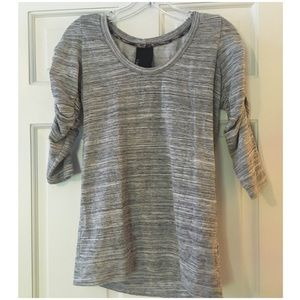 Anthropologie Dolan Ruched Sleeve Top Gray XS